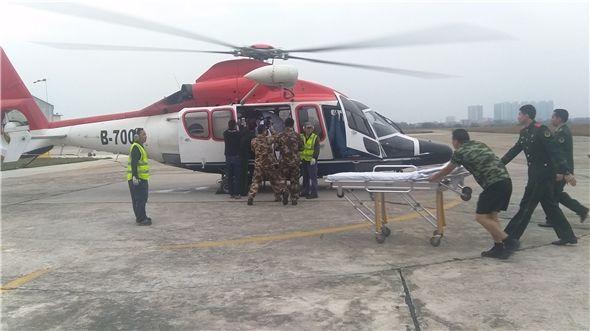 船员作业不慎大出血需入境抢救 直升机紧急驰援