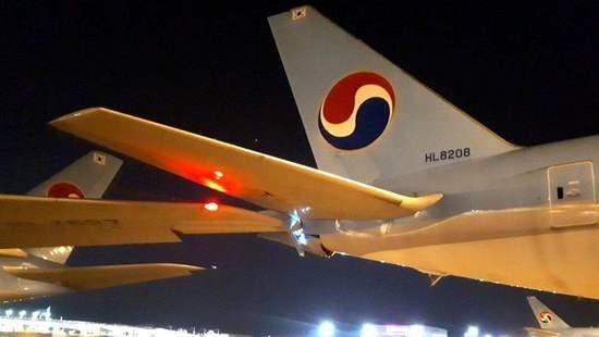 大韩航空首尔机场A380剐蹭同公司波音777