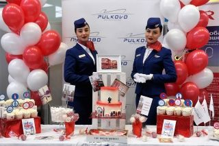 Pulkovo and Rossiya welcomed the passengers of the first flight with a c...