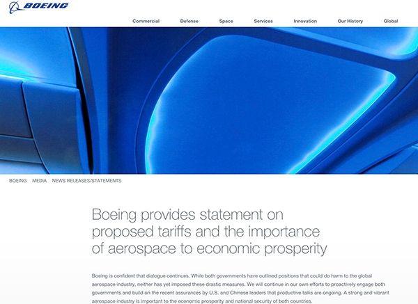 波音回应贸易战:强大的航空业对中美至关重要