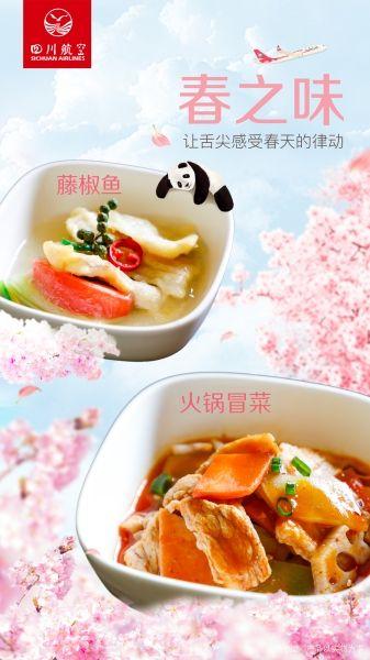 """600卡路里的飞机餐:川航推出""""春之味""""系列美食"""