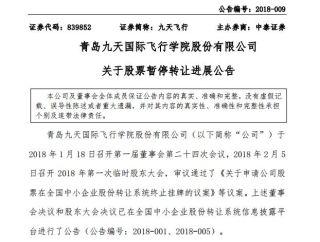 青岛九天飞院自2018年3月2日起新三板终止挂牌