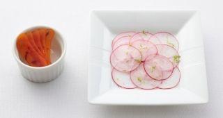 ◆  Avant Amuse・Poutargue (mullet roes), radish, shio koji  - Daikon radish marinated with shio koji. Enjoy with poutargue