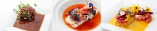 ◆  Main Dish (Select one of three)・Beef filet, foie gras, truffle, shiitake, corn  - A classic French recipe `Beef Rossini`・Cod fish, tomatoes, shio koji, fregula  - Cod fish marinated with fermented salt shio koji with tomato sauce・Blue shrimp, octopus, saffron rice, seasonal vegetables  - Mediterranean shrimps flavoured with saffron