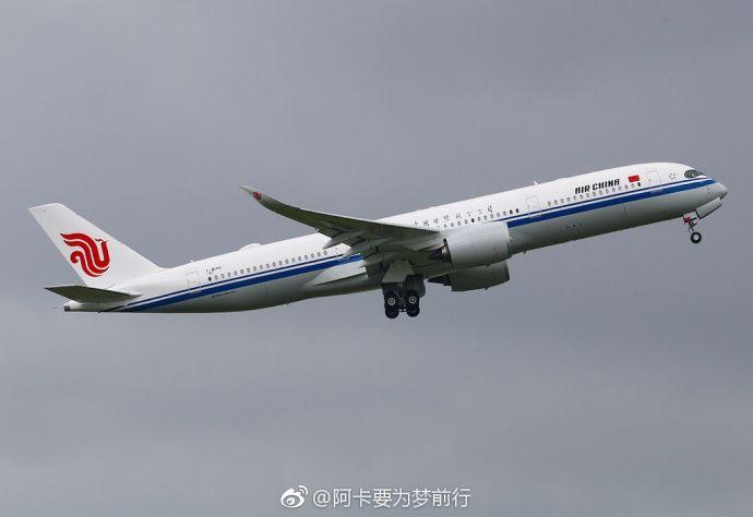 国航首架空客A350首次试飞