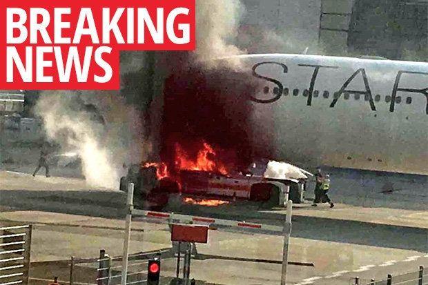 拖车起火致汉莎航空客机在法兰克福机场受损