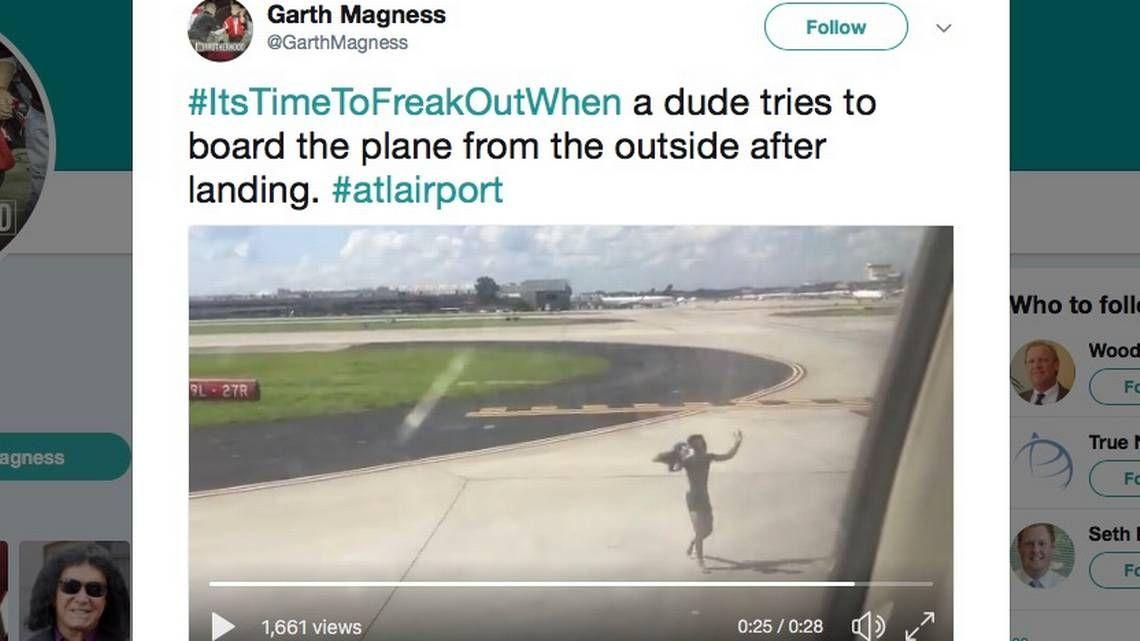 半裸男子跑入机场限制区 跳上达美飞机机翼