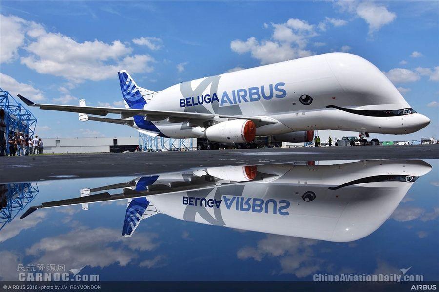 """首架空客""""超级大白鲸""""运输机完成喷漆"""