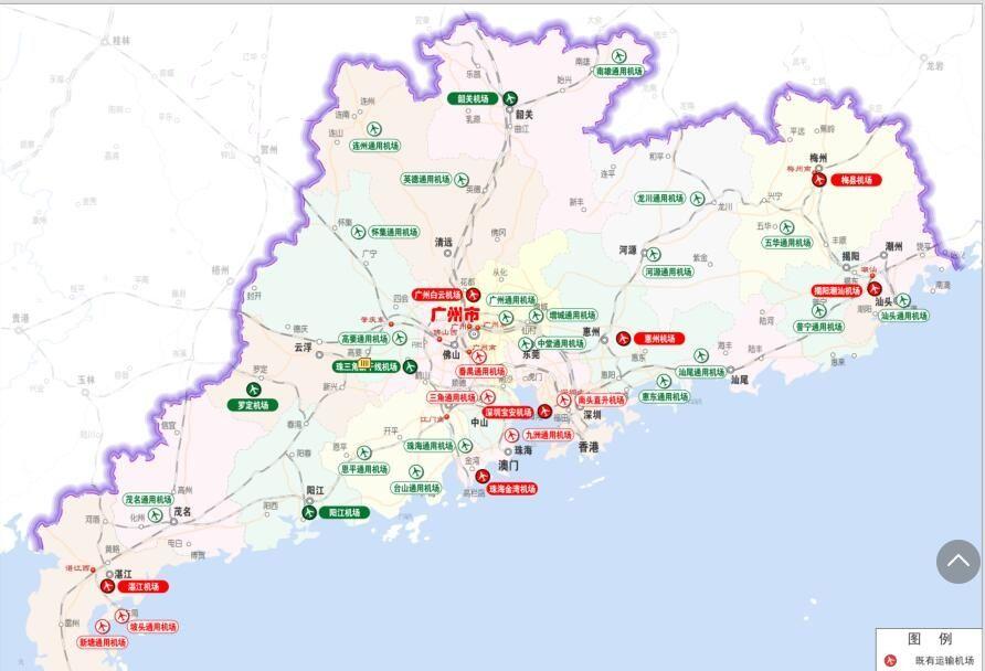 """广东省民用机场布局""""十三五""""规划示意图。"""