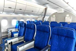 超级经济舱提供38寸前后间距,配有4向可调头枕,娱乐系统采用采用11.6寸高清电容屏。   图片来源:FATIII