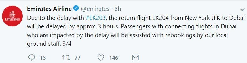 阿联酋返程航班延误3小时