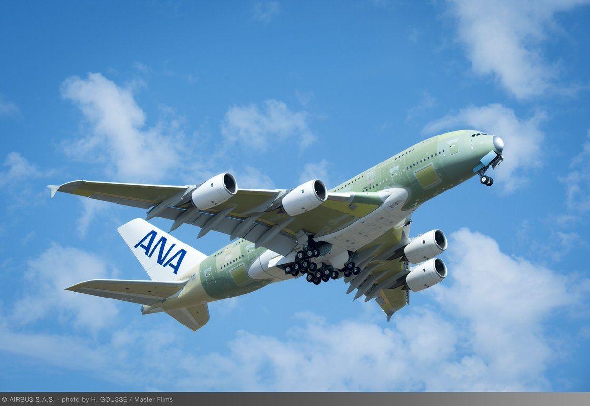 全日空首架空客A380客机完成首飞