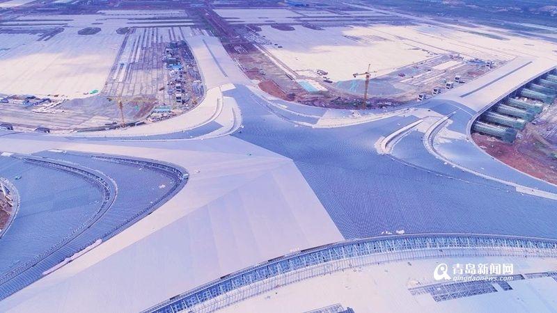 航拍:青岛新机场航站楼主体完工
