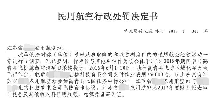 某农用航空站从事取酬和营利的通航活动被罚款