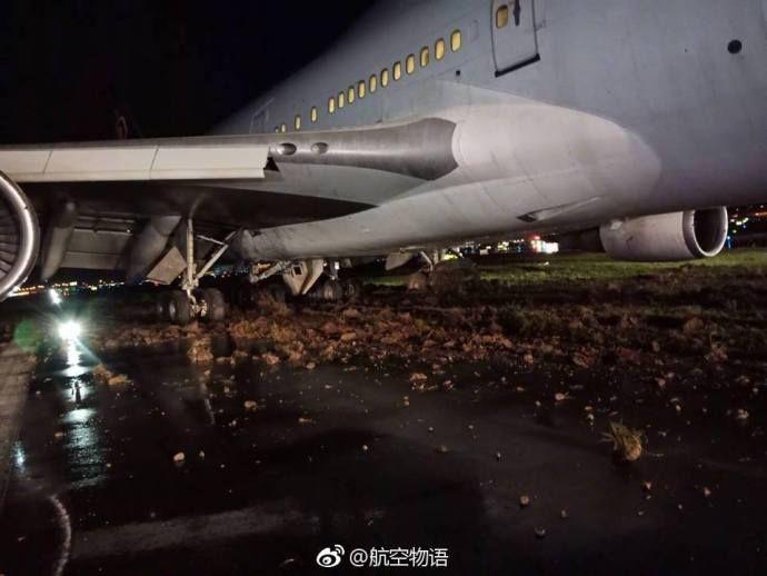 泰国航空客机暴雨中降落冲出跑道  图片来源:航空物语