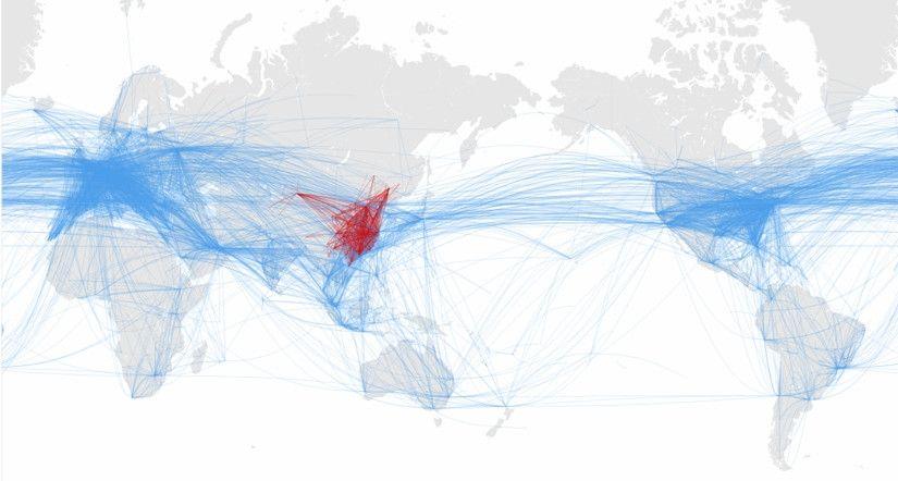 2018全球航线网络(蓝)及中国航线网络(红)  供图:飞天联合