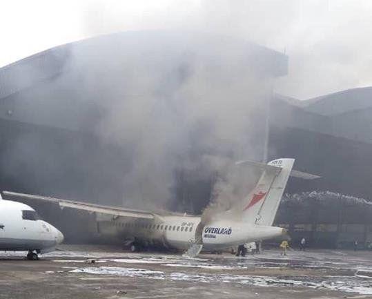 视频|尼日利亚机场机库中ATR72飞机维修时着火