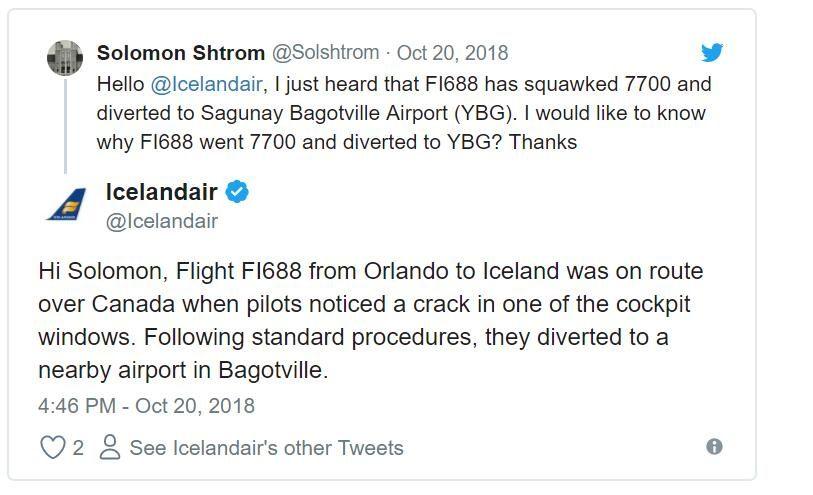 駕駛艙玻璃破裂 美國飛冰島航班急降加拿大