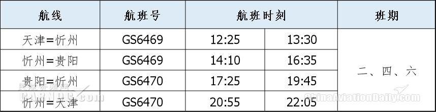天津航空开通贵阳直飞忻州航线时刻表