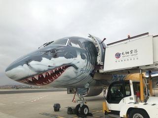 """""""大鲨鱼""""来了!巴航E190-E2亮相厦门机场"""