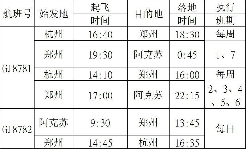 杭州=郑州=阿克苏航班时刻