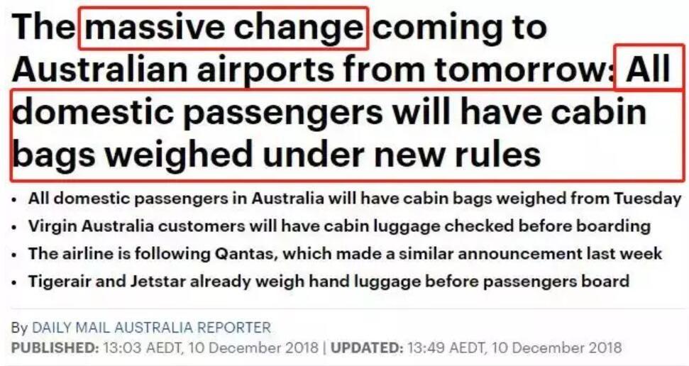 澳洲航班大變革 所有手提行李將接受登機前檢查