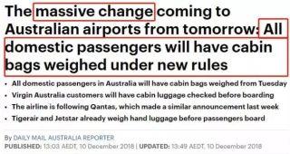 澳洲航班大变革 所有手提行李将接受登机前检查