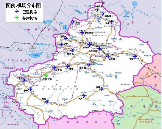 新疆机场集团管理机场分布图