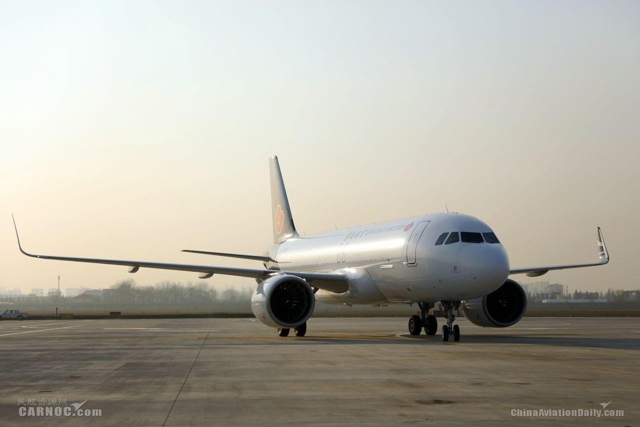 青島航空迎第5架A320NEO   機隊規模達19架
