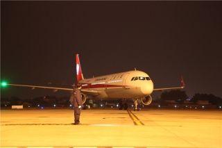 川航迎新一架A321,机队规模升至147架。摄影:高昂