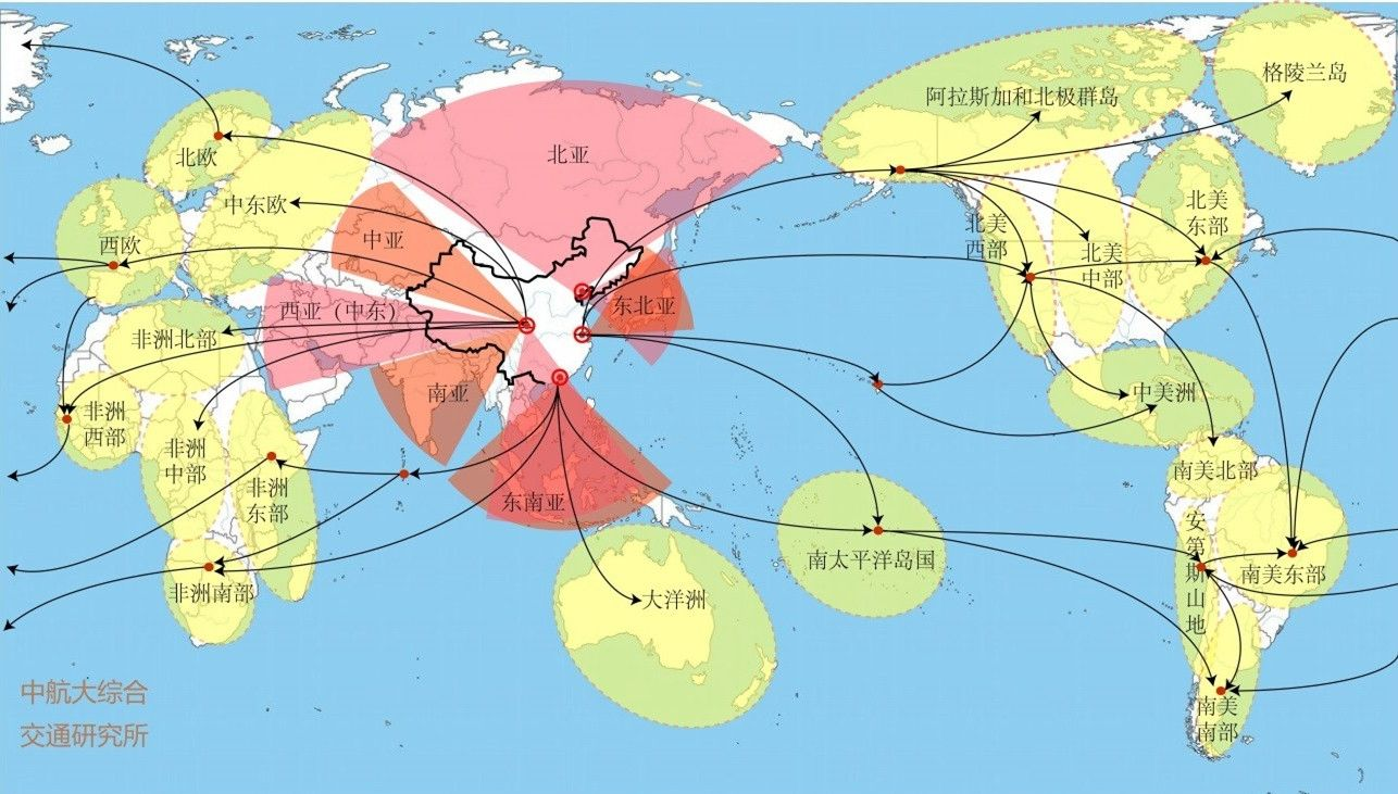基于五大货运枢纽机场群的全球货运航线辐射范围示意图