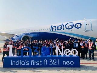 靛蓝航空接收印度首架空客A321neo飞机