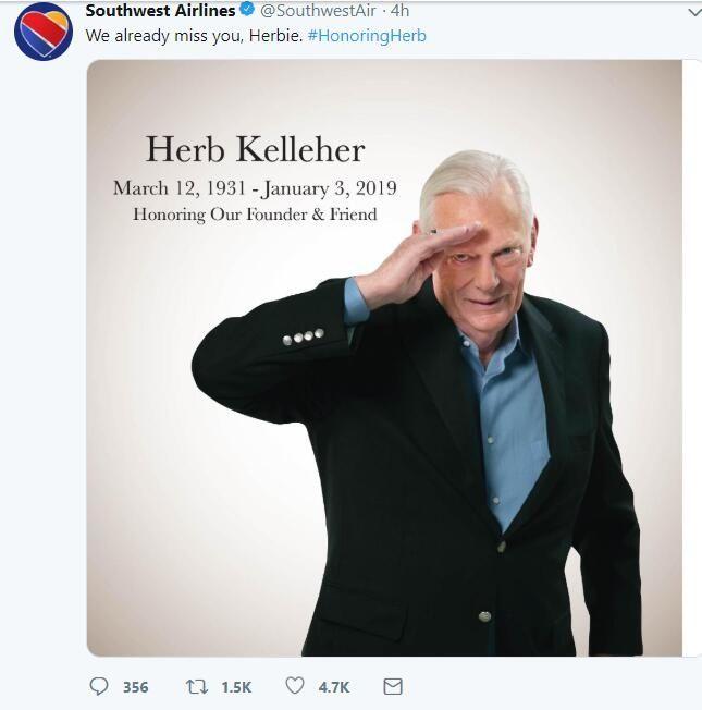 美西南航空发文悼念前总裁Herb
