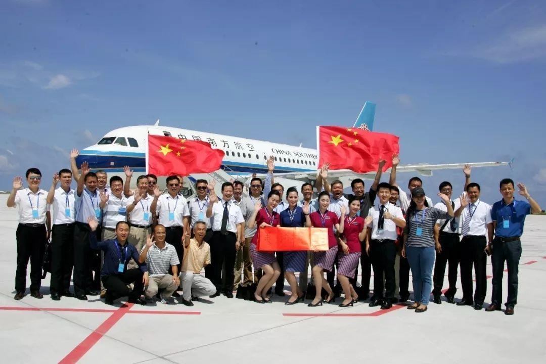 2016年7月13日,南航客机在美济礁新建机场试飞成功