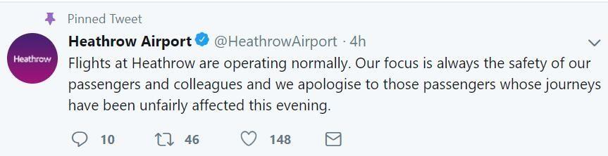 希思罗机场恢复运营声明