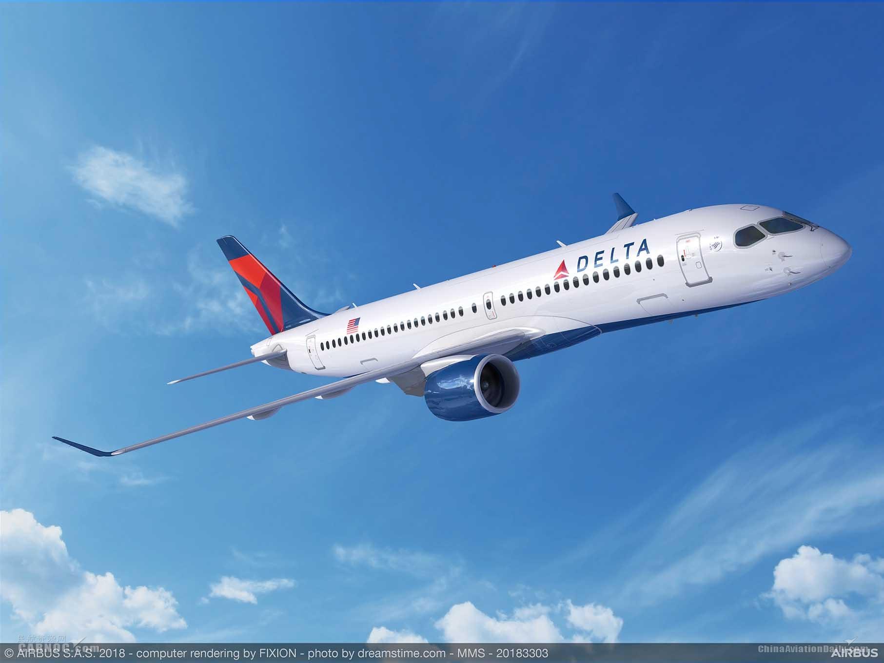 达美航空增购15架空客A220飞机