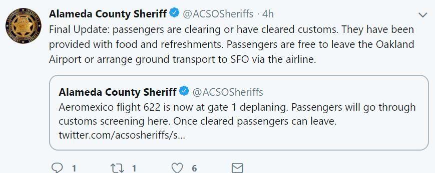 拉梅达郡警方表示,墨西哥航空已向乘客提供了食物和饮料