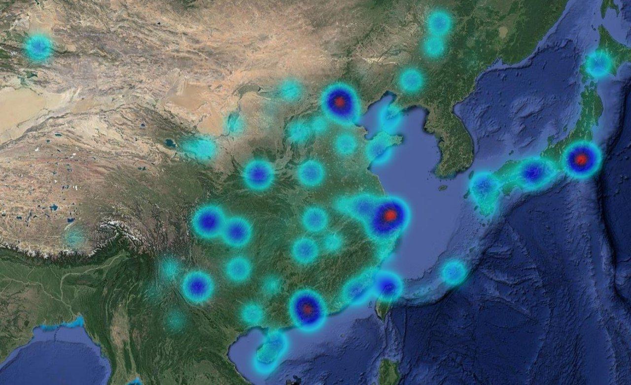 中国及日本机场热力图