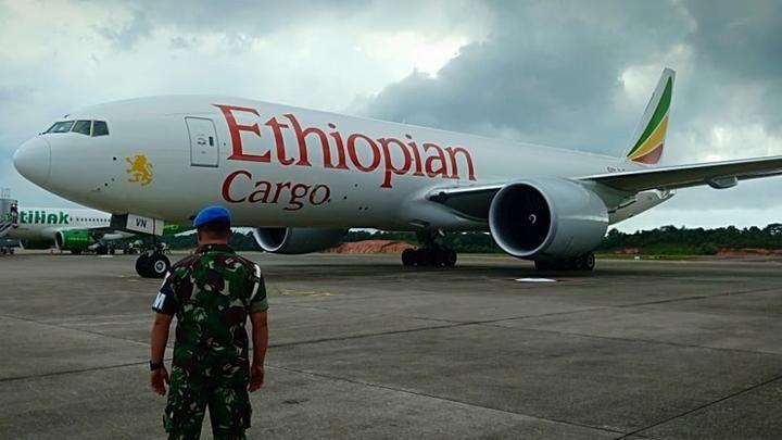 图:埃塞俄比亚货机被逼停印尼巴淡岛韩那丁国际机场  图片来源:TNI