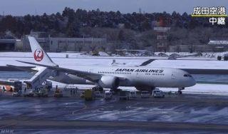 日航787客机降落后偏出滑行道 成田机场跑道关闭