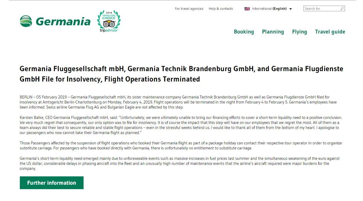 德国日耳曼尼亚航空宣布破产 所有航班停飞