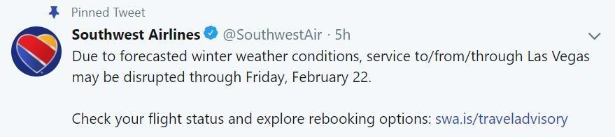 美西南航空提醒拉斯维加斯机场航班中断将持续至周五