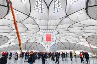 图集:外媒记者参观北京大兴国际机场