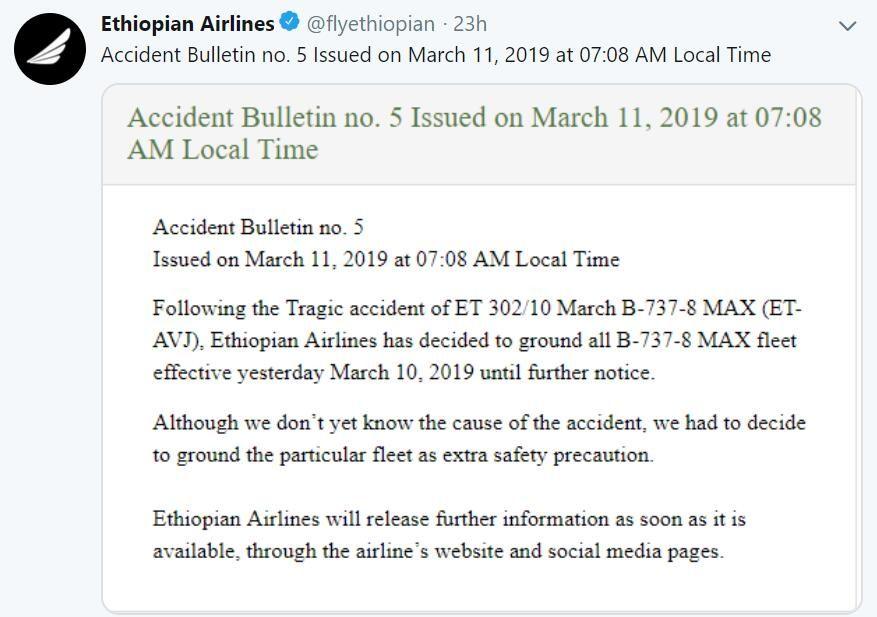 埃塞俄比亚航空宣布停飞737MAX