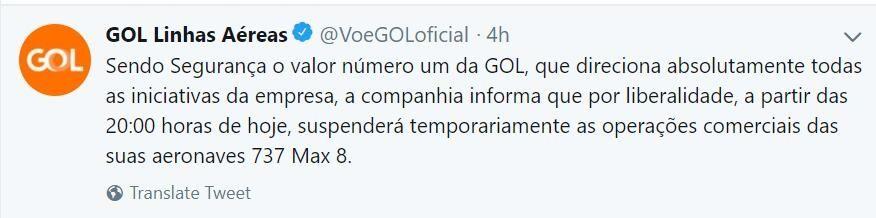 巴西GOL航空宣布停飞737MAX