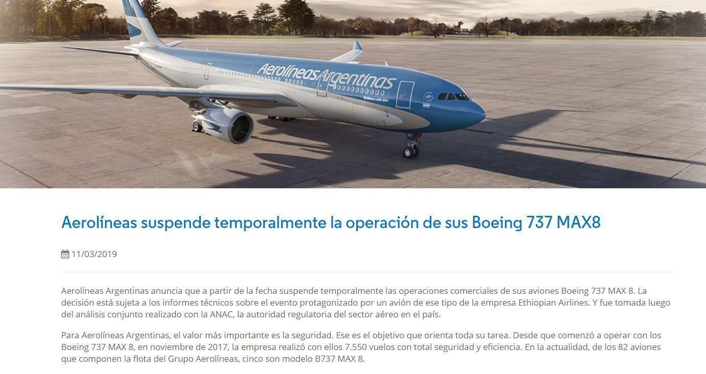 阿根廷航空宣布停飞737MAX