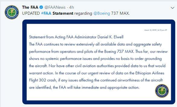 FAA坚称:未发现系统性能问题,没停飞依据