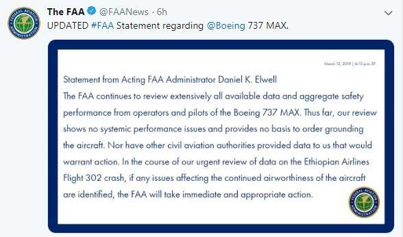 FAA声明截图