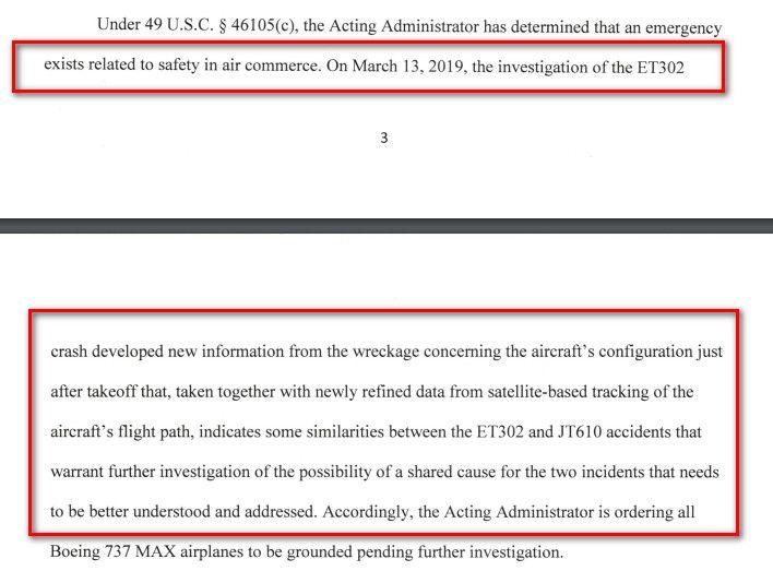 FAA停飞令中的关键信息点内容