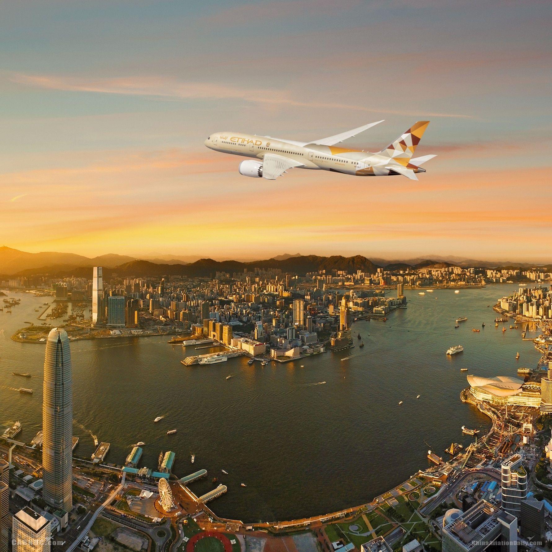 阿提哈德航空波音787夢幻客機開始執飛香港航線